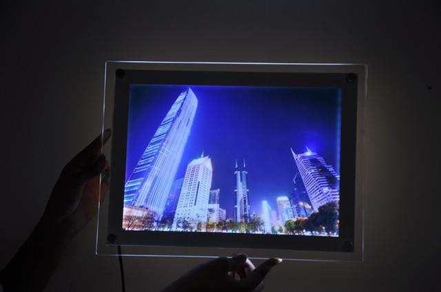 Acrylic LED Illuminated Photo Frame Wall Mounted LED Backlit Crystal ...