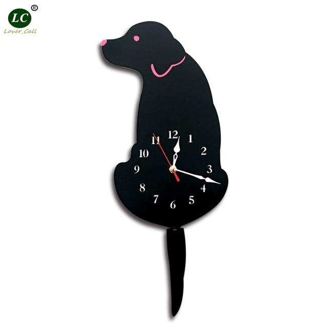 Diy Watch Living Room Acrylic Rocker Dog Home Wall Clock Cartoon Modern Wall Clock Dog Clock