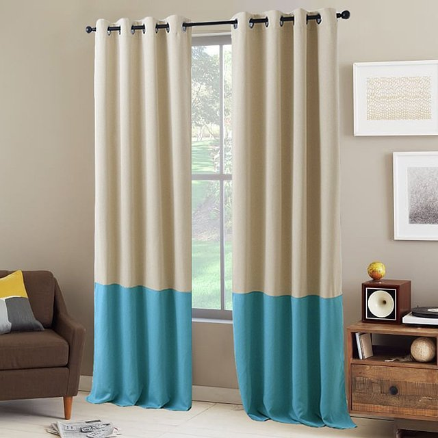 drape block curtains with panel colorblock drapery classic products a linen color