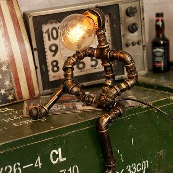 Sótão do vintage Lâmpada de Mesa Retro Industrial Tubulações De Água De Ferro Bar Candeeiros de Mesa Decoração De Mesa Padrão Insetos Luz Lâmpada de Mesa de Iluminação