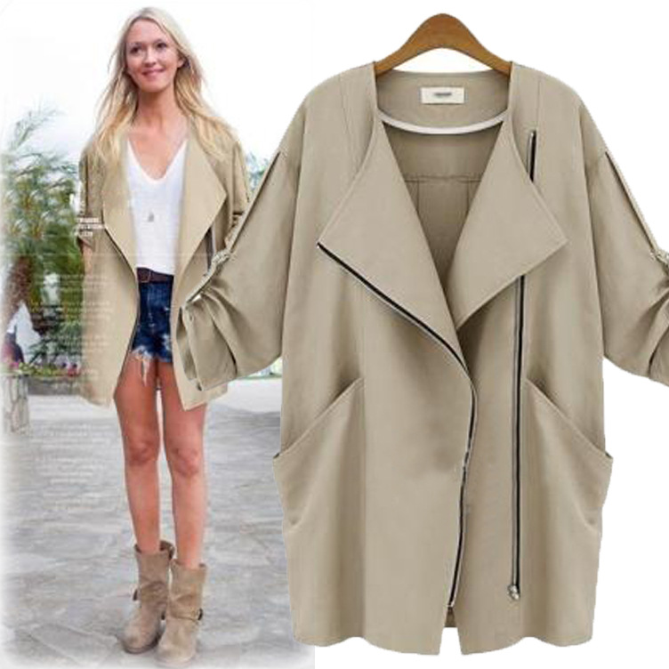 Ladies spring coats long coat in a new stylish cropped sleeves Joker  relaxed casual Jacket Women s clothing-in Basic Jackets from Women s  Clothing on ... a9727fdb2