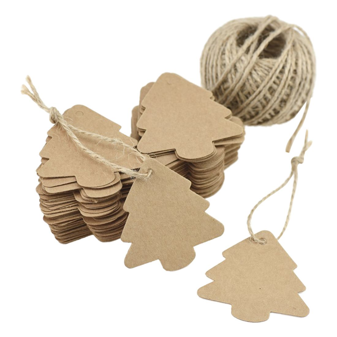 100 Pcs Brown Kraft Paper Blank Tags for Wedding Gift Card Luggage Baking Craft Projects Scrapbooking DIY with Jute Twine Ball
