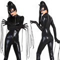 New Sexy Black Catwomen Jumpsuit Catsuit Lady Sexy Clubwear Bodysuits Faux Leather Zipper Body Suit With Cat Mask+Tassel Gloves