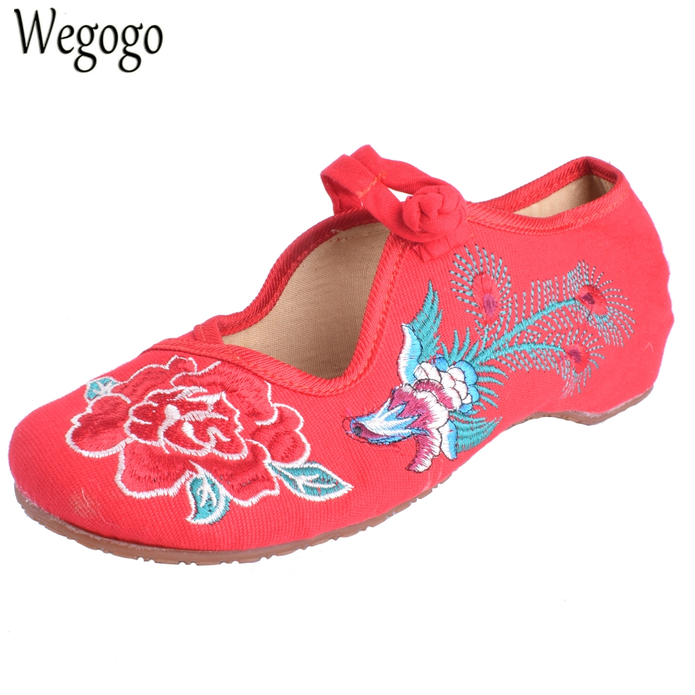 Wegogo Women Flats Shoes Old Peking Mary Jane Phoenix Floral Embroidery Soft Sole Zapatos De Mujer Ballet Flat Plus Size 41 peacock embroidery women shoes old peking mary jane flat heel denim flats soft sole women dance casual shoes height increase