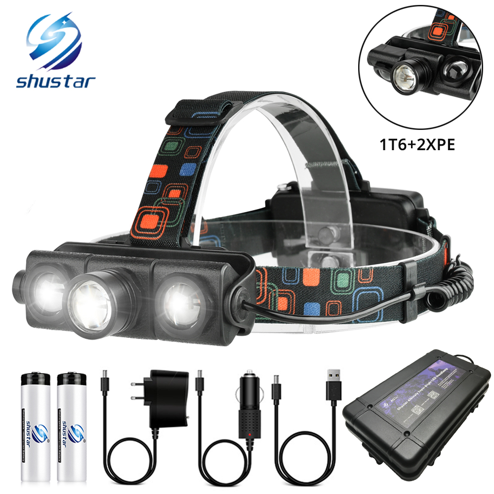 Multi-function LED Headlamp Telescopic Zoom LED Headlight 1T6+2XPE LED Lamp Bead Used For Fishing Adventure Hunting For 18650