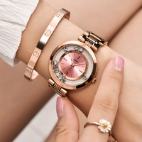 2018 New Aimasi Brand Women's Watches Ladies Fashion Luxury Rose Gold Stainless Steel Ball Crystal Women Rhinestone Clocks Saat