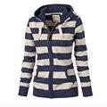 XXXXL Полосатый свитер пальто женщин большой размер куртка с капюшоном Европа Америка кардиган рубашка пальто clothing vestidos LBD6325