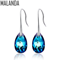 MALANDA Water Drop Earrings For Women Fashion Original Crystal From SWAROVSKI Silver Color Pendant Dangle Earrings