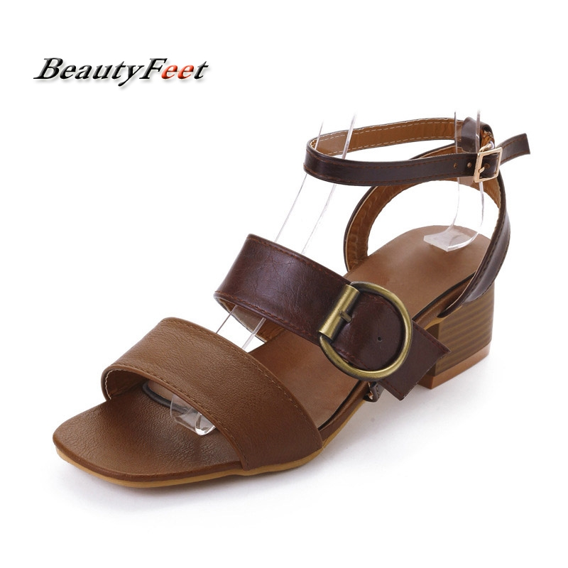 BeautyFeet font b 2017 b font Summer Women Sandals 5cm Square Heel Fashion Ladies Casual Sandalias