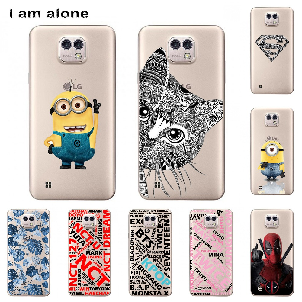 I am alone Phone Cases For LG X Cam Cellphone Solf TPU Colorful Fashion Cute Animal Floral Hollow pattern Back Cover For LG K580