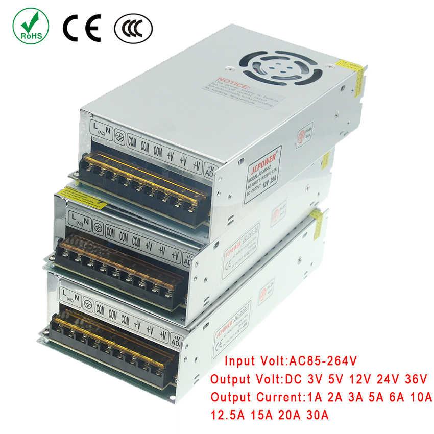 Zasilacz led sterownik oświetlenie transformatory AC 110 V 220 V do 12 V 5 V 24 V 36 V 3 V 1A 2A 5A 6A 10A 15A 20A 25A 30A pasek światła