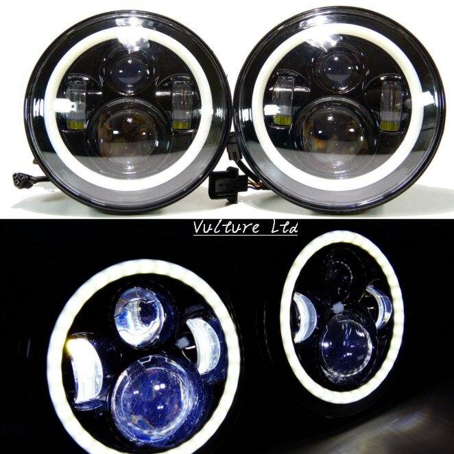 ФОТО 7 Inch Round LED Headlights Halo Angle Eyes For Jeep 97-2015 Wrangler JK LJ TJ