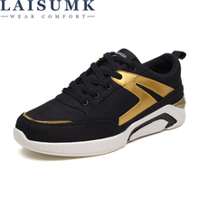LAISUMK Hot Sale Men Black White Gray Canvas Shoes Fashion Spring Summer Casual Lace-up Breathable Sneakers