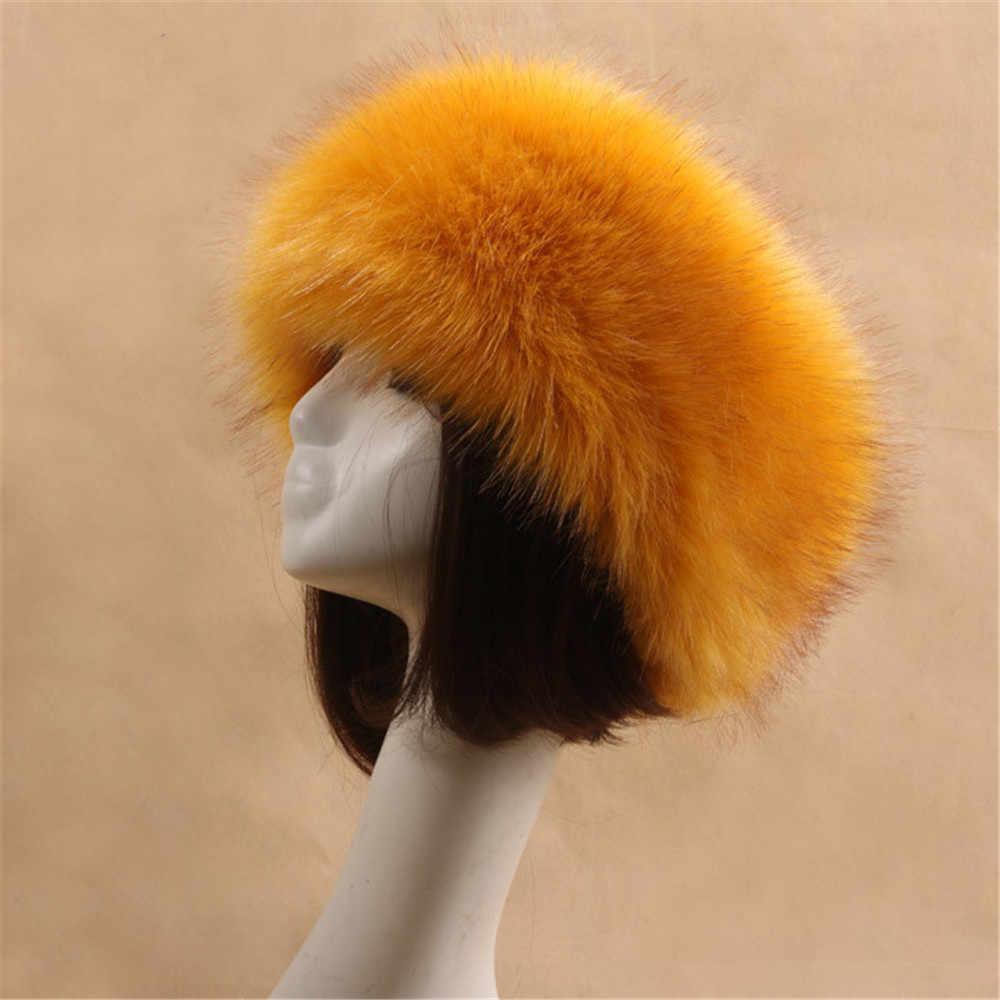... Yyun Luxury Brand Russian Cossack Style Faux Fur Headband for Women  Winter Earwarmer Earmuff Hat Ski 025eea3952e