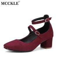 MCCKLE Femenina Dos Buckle Flock Elegante Cómodo Gruesos Zapatos de Tacón Correa del Tobillo de Las Mujeres del Otoño Slip On Punta Cuadrada Del Hight tacones