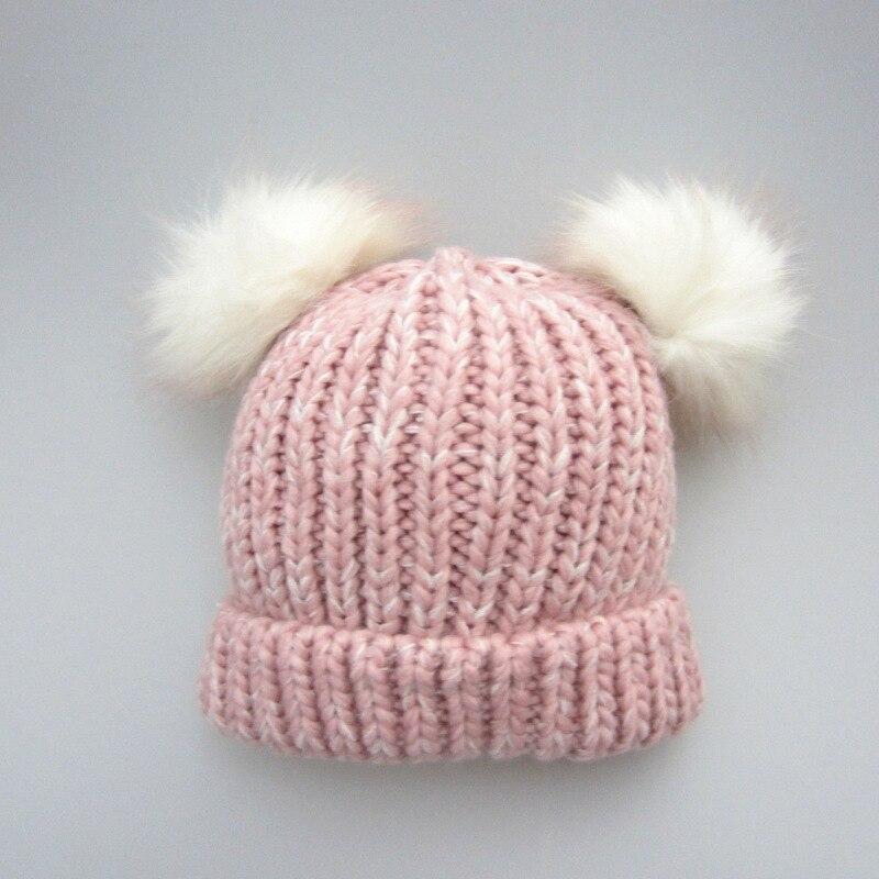 Sombrero de invierno para la madre y los niños Bola de piel Gorro de - Ropa de bebé