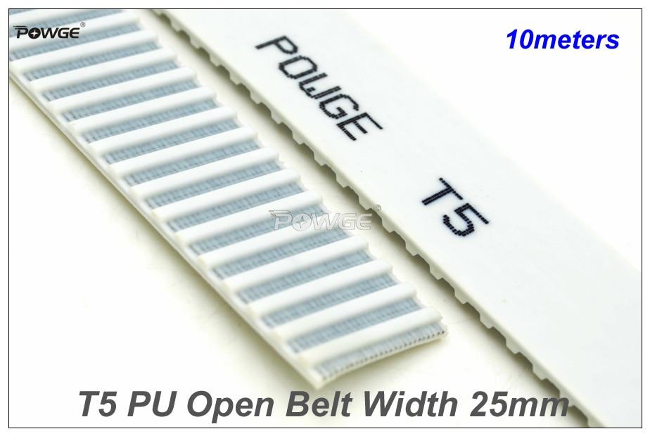 Powge 10メートルt5オープンエンドタイミングベルトT5 25幅= 25ミリメートルpuで鋼コアt5 25 at5ベルトフィットt5タイミングプーリー用cnc reprap  グループ上の 家のリフォーム からの トランスミッションベルト の中 1