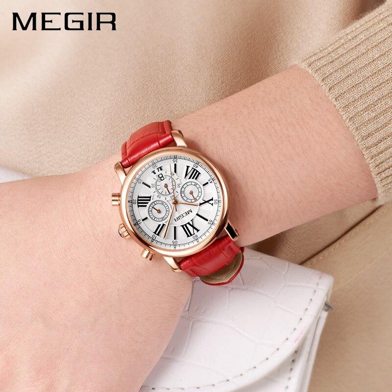 MEGIR Femmes Montres Top Marque De Luxe Femmes Montre de Sport Horloge Dames Bracelet En Cuir Chronographes Militaire Relogio Masculino