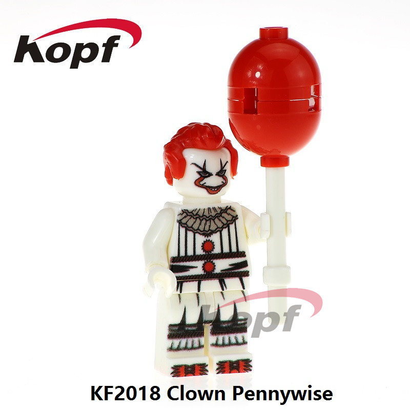 KF2018 Single Sale Super Heroes The Clown Pennywise Redux Joker With Balloon Building Blocks Bricks Model For Children Gift Toys super heroes single sale the villain of yellow lantern skeletor heman he man he man building blocks toys for children gift kf921