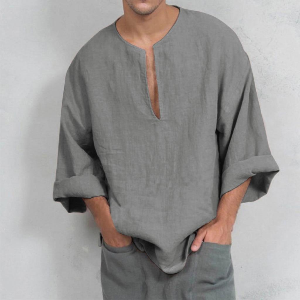 Осень 2019 мужская летняя футболка хлопковая льняная тайская рубашка хиппи с v образным вырезом пляжная рубашка Топ Блузка футболка с длинным рукавом сплошной цвет|Футболки|   | АлиЭкспресс