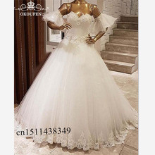 OKOUFEN Vintage Short Bishop Sleeves Wedding Dress For