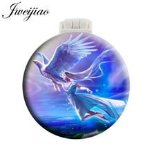 JWEIJIAO Fairy Angel Women Pocket Mirror With Massage Comb Folding Round Compact Portable Makeup Hand Vanity Mirrors Mini Style vintage style portable folding airbag massage comb with mirror