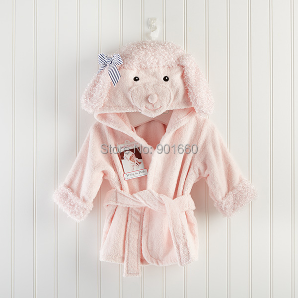 Pink Poodle Baby Boy Girl Dressing Gown Splash Wrap Bath Hooded
