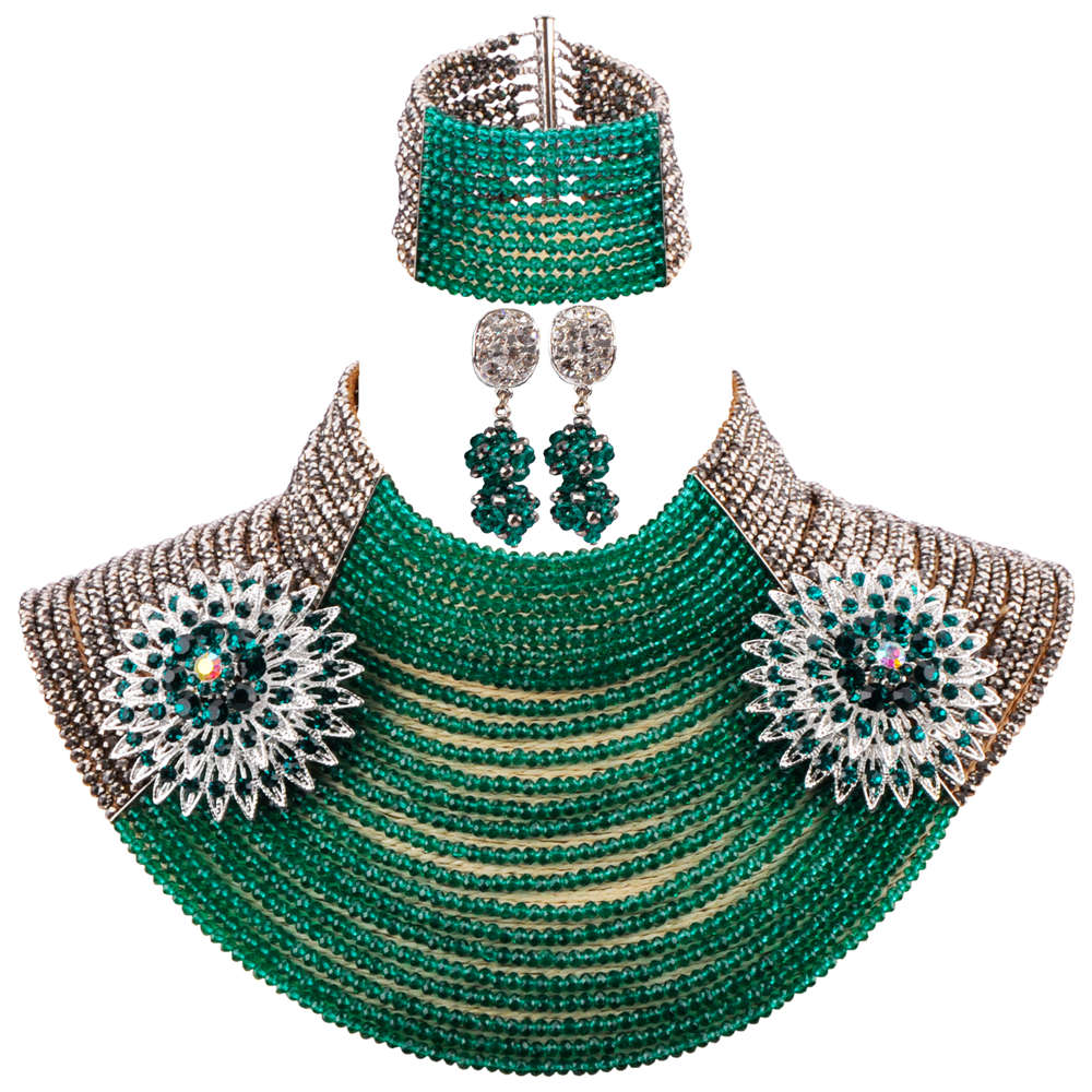 New 25 Layers Silver Army Green Teal Green African Beads Jewelry Set Costume Necklace Sets Crystal Party Jewelry Sets 25R08New 25 Layers Silver Army Green Teal Green African Beads Jewelry Set Costume Necklace Sets Crystal Party Jewelry Sets 25R08