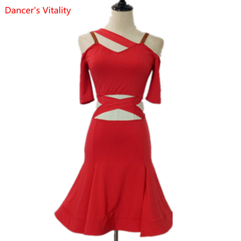 Adult Female Latin Dance Dress Sexy Sling Fishbone Dresses Lady's Ballroom Salsa Samba Dance Stage Performance Practice Costumes