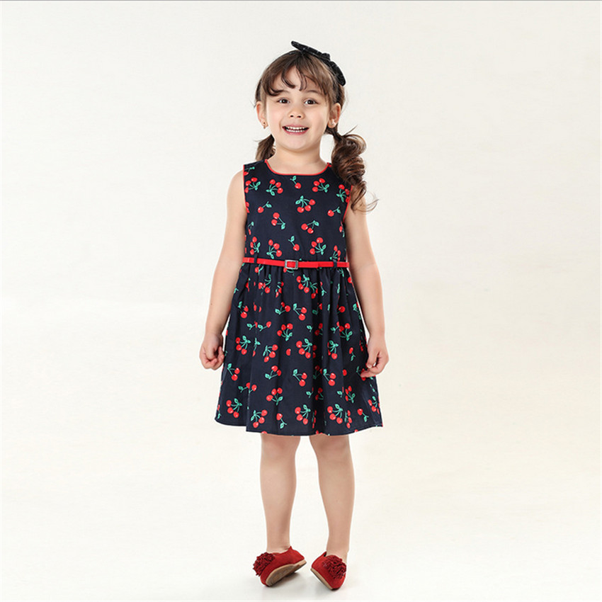 2-7y Girls Clothing Summer Girl WeddingDress Children Kids Berry Dress Back O-neck Girls Cotton Kids Vest dress Children Clothes new girls dress brand summer clothes ice cream print costumes sleeveless kids clothing cute children vest dress princess dress