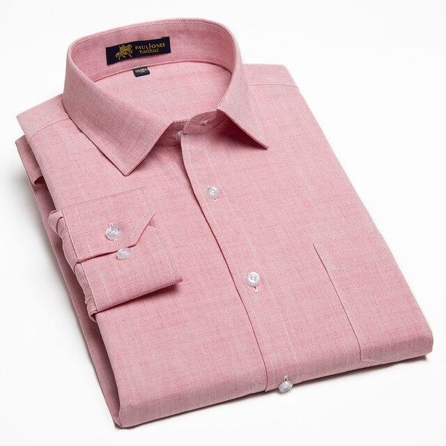 ชายผ้าฝ้ายแบบสบายๆผ้าลินินเสื้อแขนยาวแพทช์เดี่ยวกระเป๋าปุ่มปกติFit Fit Semi อย่างเป็นทางการทำงานหนาเสื้อ