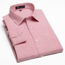 Degli uomini di Casual Cotone di Lino Manica Lunga Camicie Eleganti Singolo Patch Pocket Button Up Regular fit Semi formale di lavoro di spessore Magliette E Camicette Della Camicia