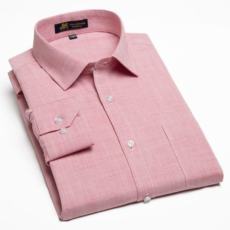 Men's Casual Cotton Linen Long Sleeve Dress Shirts Single Patch Pocket Button Up Regular-fit Semi-formal Work Thick Tops Shirt
