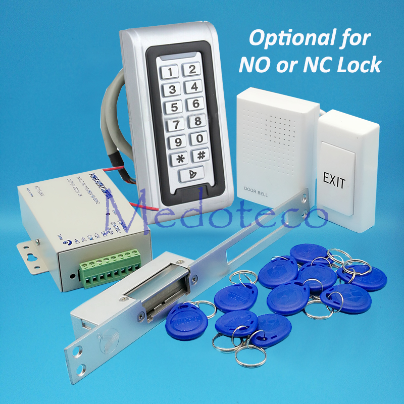 Full waterproof rfid Door Access Control System 125Khz Rfid Card Keypad Access Control System Kit + Long Electric Strike Lock diy waterproof 125khz rfid door access control kit set electric strike lock 10 rfid card outdoor touch keypad access control