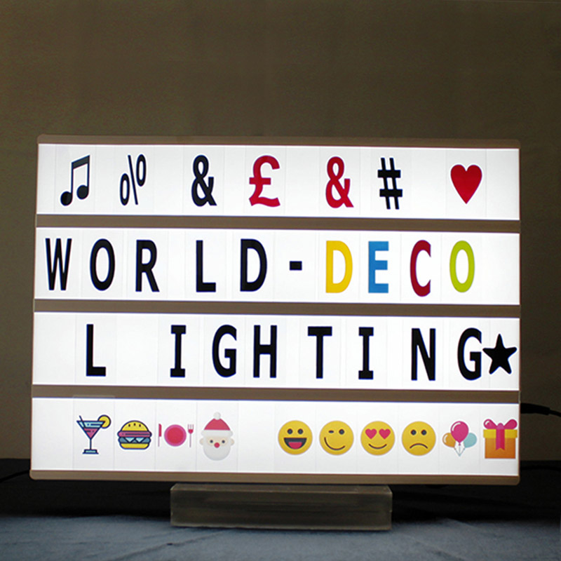 DECO Reasonable Price LED A3 Cinematic Light Box With 100 Letters Symbols Emoji Battery & USB Adapter Operated For Advertising