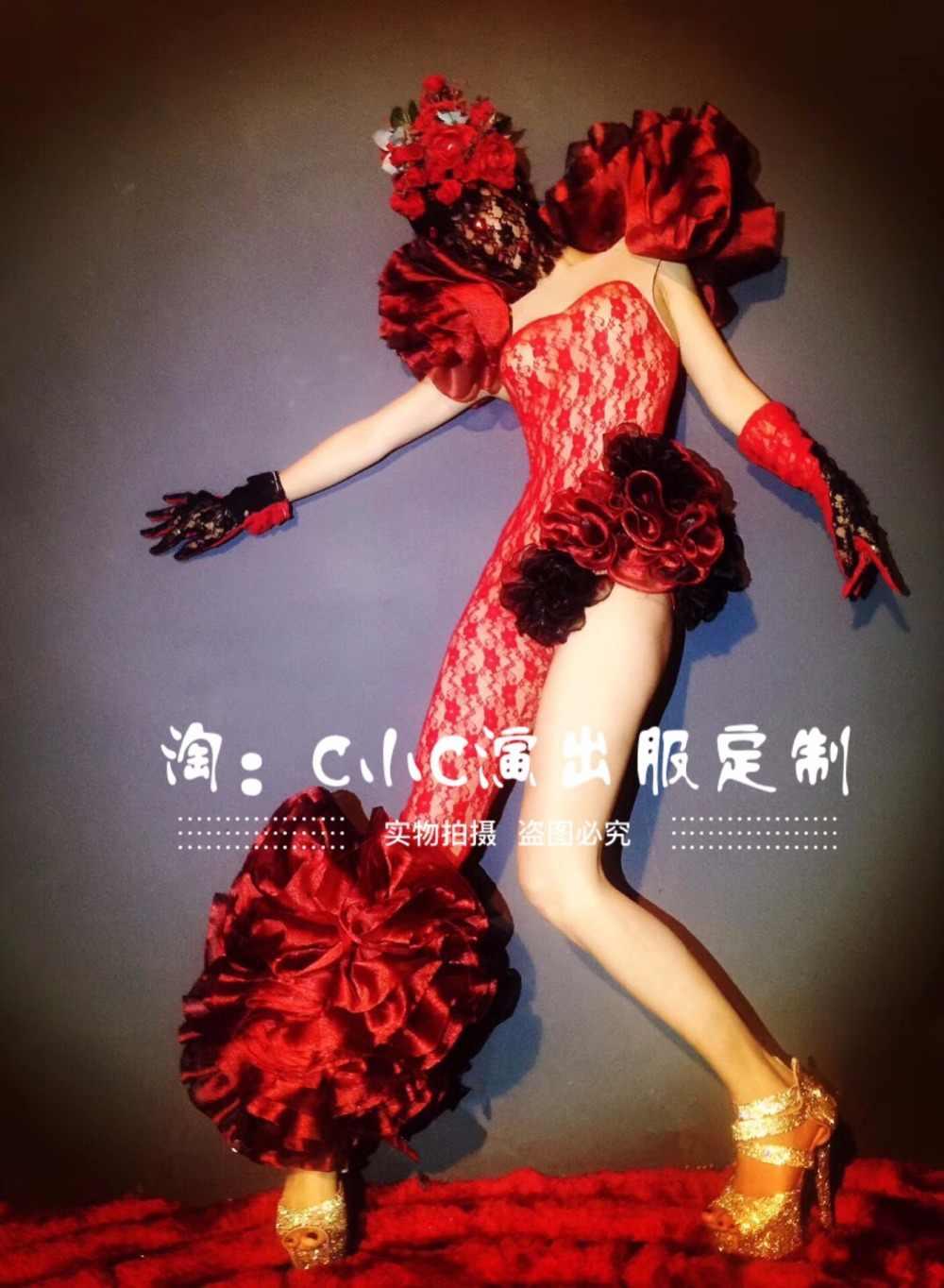 2020 Frauen Neue Baldachin Blume Dance Party Atmosphärischen Party Show Sexy Red Overall Anzug Nachtclub Kostüm Feier Geburtstag