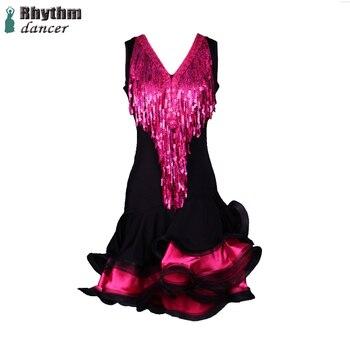 V-neck sequined tassels latin dance clothing custom female professional latin dance competition suits latin dance dress