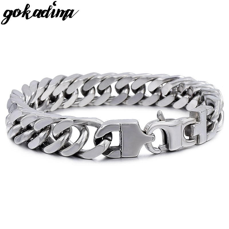 GOKADIMA Stainless Steel Bracelet Men Jewelry Link Cuban Chain 2018, bijoux PUNK ROCK, Biker, gift, for pulsera hombre, WB022
