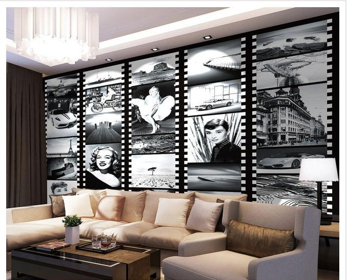 Free shopping 2015 New non-woven Black and white figures old movie posters classic black and white old photos Monroe wallpaper  free shipping hepburn classic black and white photos wallpaper old photos tv background wall mural wallpaper