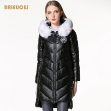 2016 new warm winter jacket women PU leather Patch Designs parkas large fur collar hooded pink solid color pink cotton down coat