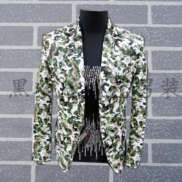 Men Short Suits Designs Masculino Homme Terno Stage Costumes For Singers Men Camouflage Blazer Dance Clothes Jacket Style Dress