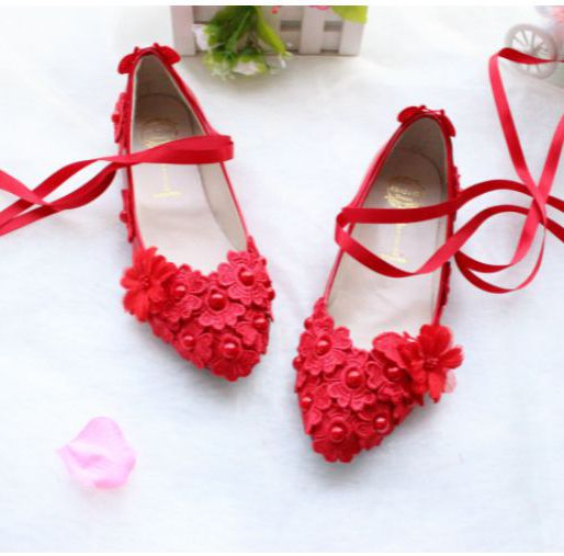ФОТО Flat Heel red lace girl flats shoes for spring summer. TG076 handmade delicate sweet satin ribbons wedding party dance flats