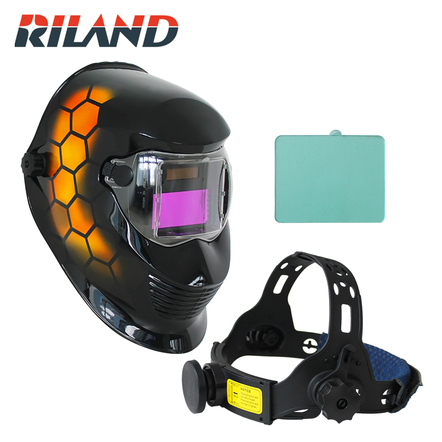 RILAND Honeycomb Automatic Solar Auto Darkening MIG TIG ARC Welding Helmets Mask/Welder Cap stepless adjust solar auto darkening electric welding mask helmets welder cap eyes glasses for welding machine and plasma cutter