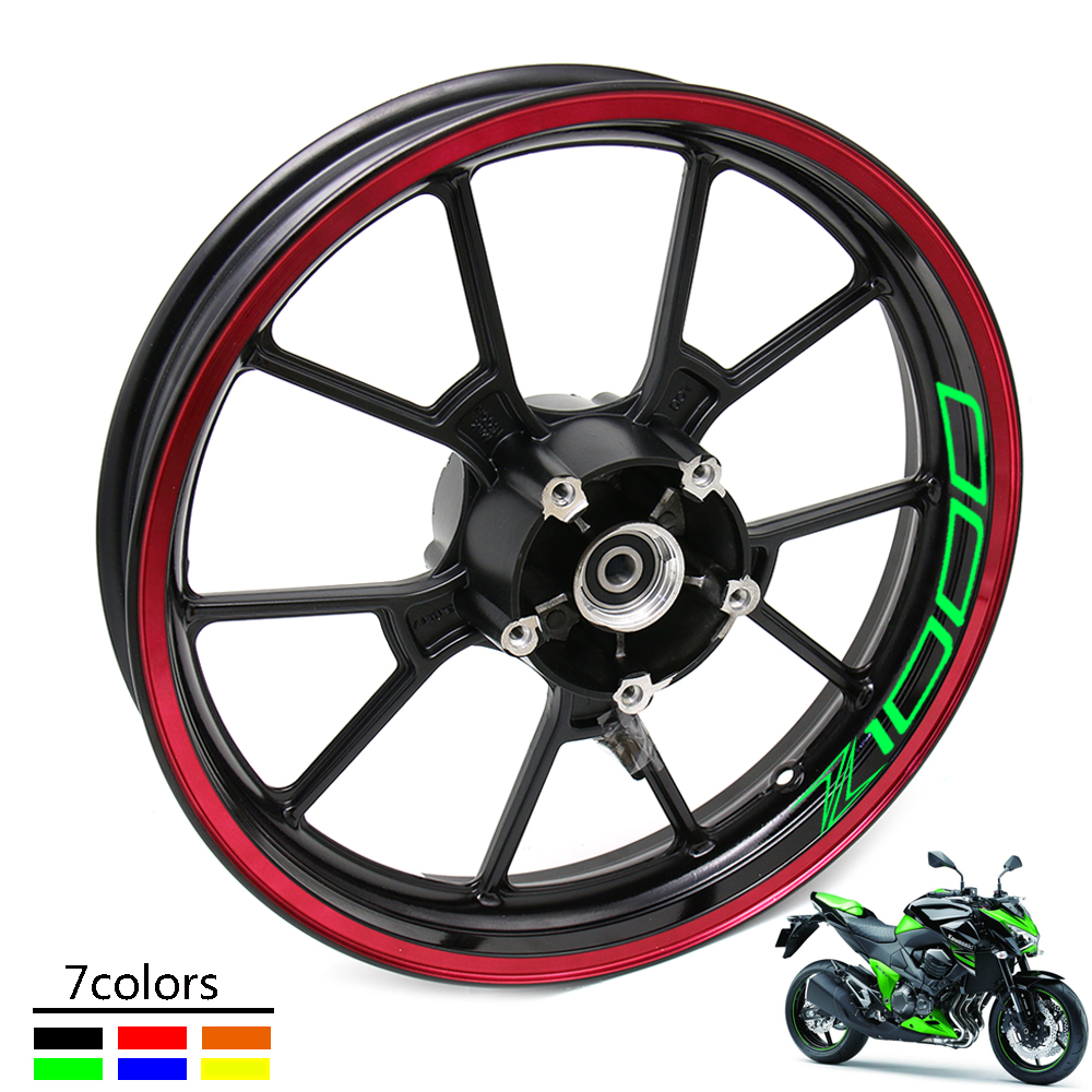 Z1000Hot Sell Motorcycle Front And Rear Wheels Edge Outer Rim Sticker Reflective Stripe Wheel Decals For Kawasaki Z1000 Z 1000