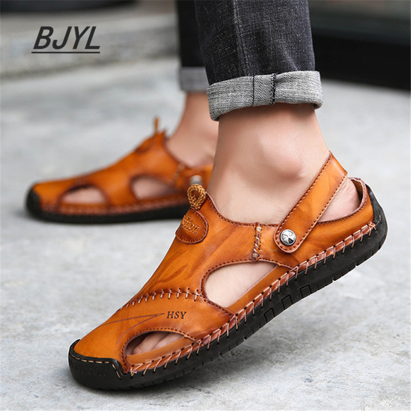 Leather Casual Sandals Summer New Hole Shoes Beach Super Large Size 48 Baotou Non-slip Casual Breathable Men's Shoes
