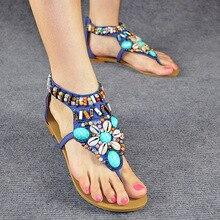 Ethnic Style Women's Summer Bohemian Beaded Diamond Shoes Flat Flip Flops Sandals Red Black Blue Beige