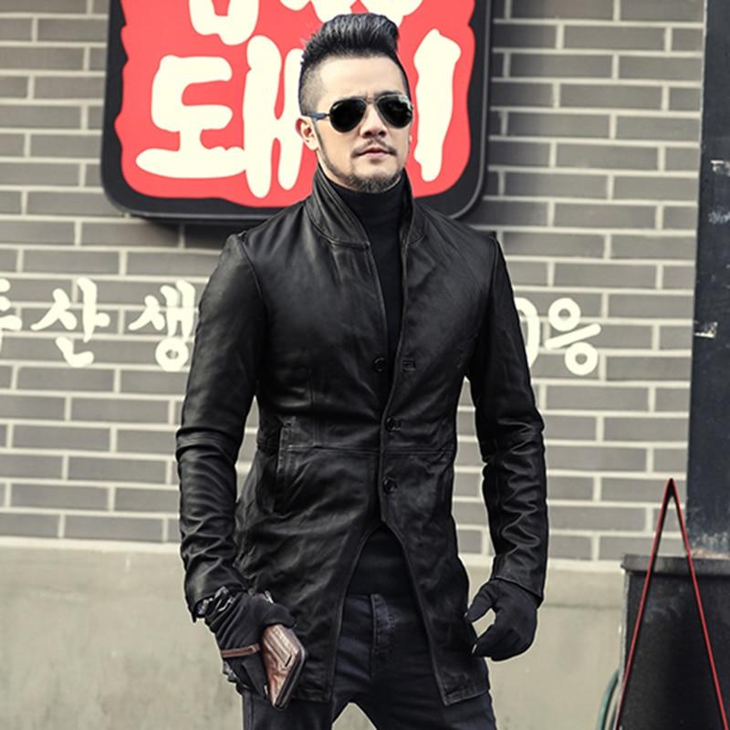 2017 Men Autumn Genuine Leather Jacket Fashion Solid Sheepskin European Style Coat Men Motorcycle Biker's  Leather Jacket New