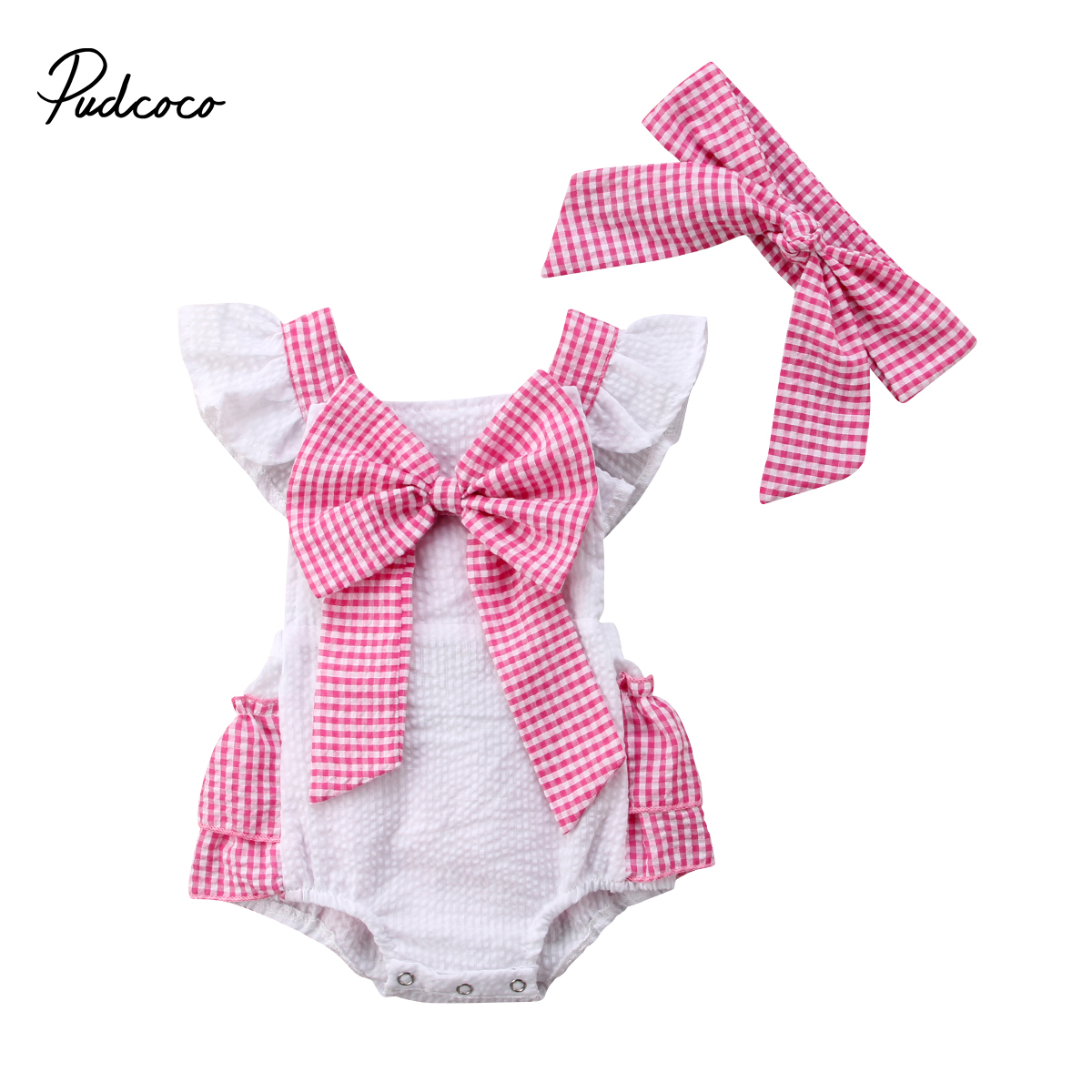 Lovely Baby Girls Newborn Plaids Bodysuit Bow Knot Backless Summer Jumpsuit Outfit Headband Short Swing Sleeve Backless Bodysuit Crease-Resistance Bodysuits & One-pieces Bodysuits