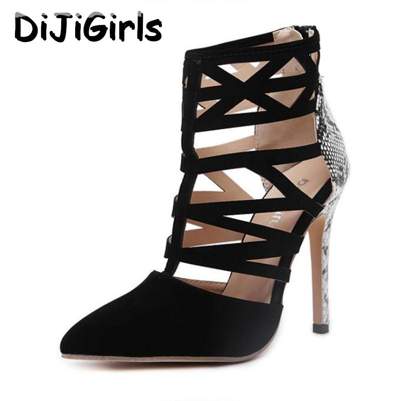 DiJiGirls női magas sarkú szexi női kivágott kígyóbőr nyomtatás római szandálok gladiátor boka csizma Stilettos szivattyúk cipzár cipő
