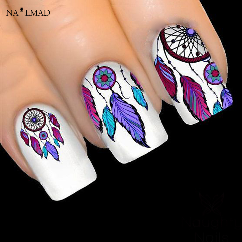 1 hoja de NailMAD Dreamcatcher Stickers Feather Nail Art 3D Sticker Dream Cather Nail Stickers